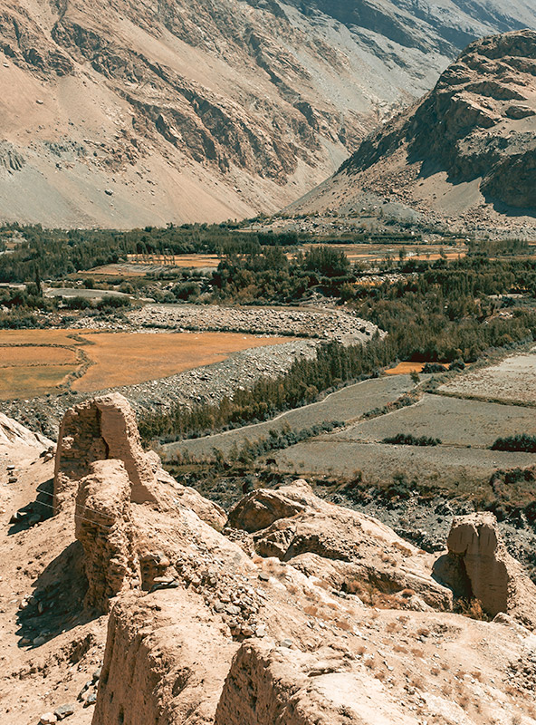 A view over the fertile Wakhan Valley from crumbling Khaaka Fort