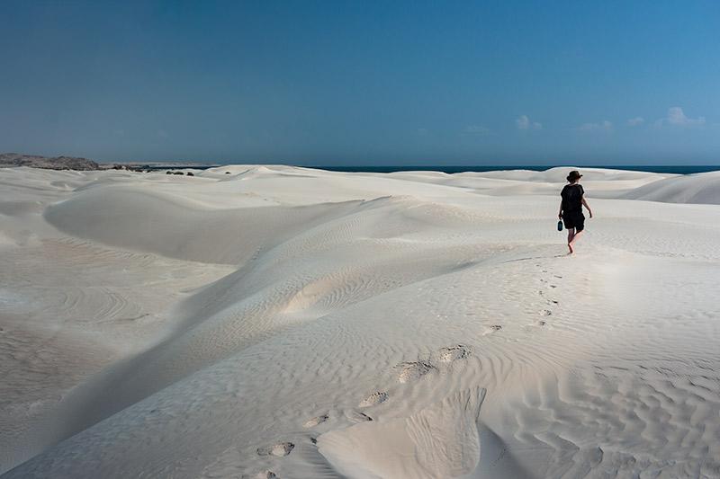 Wandering the powder white Sugar Dunes