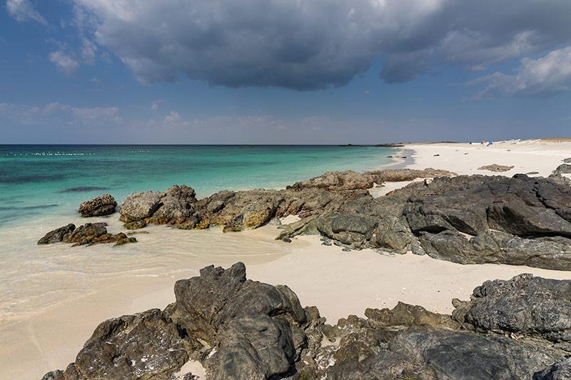 White beaches, rocks and turquoise water on Masirah Island