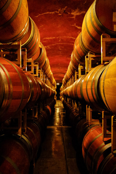 A photographic journey: A row of wine barrels stacked in a cellar at a winery in Sonoma County, California, USA