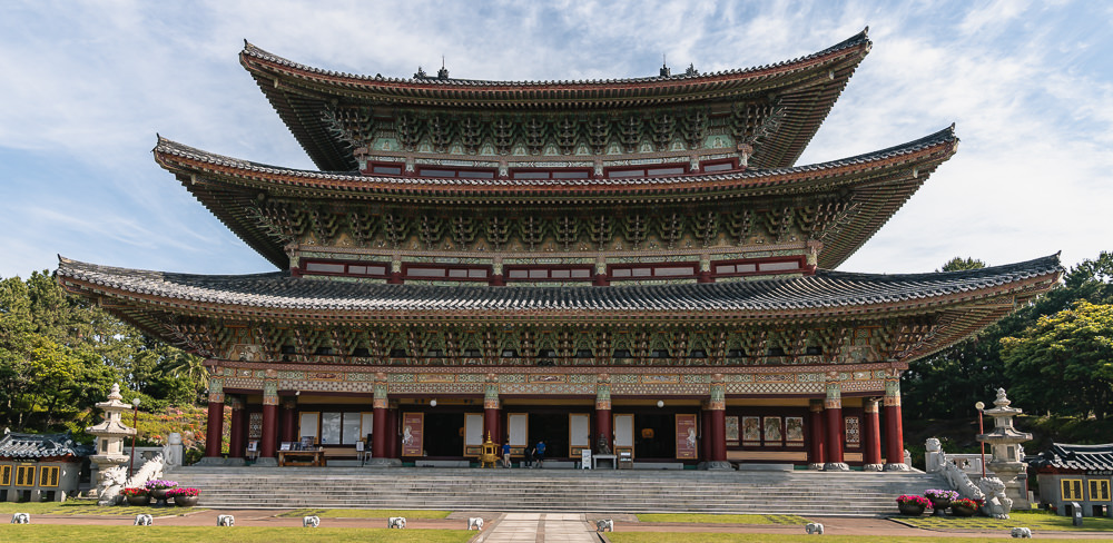 A frontal shot of Yakcheon-sa, one of Asia's biggest temples, near the beginning of Jeju Olle Trail Route 8