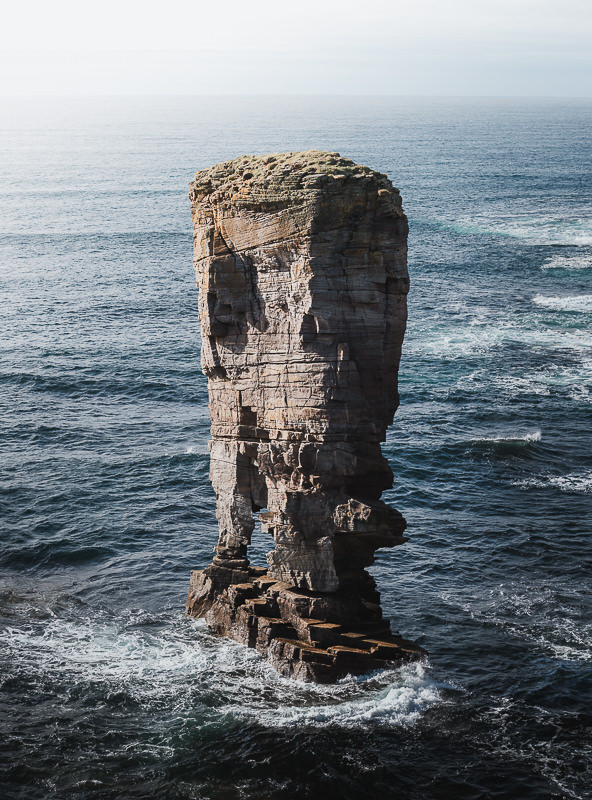 Yesnaby Castle, an impressive and dsitinctive sea stack standing just off the West Mainland Orkney coastline