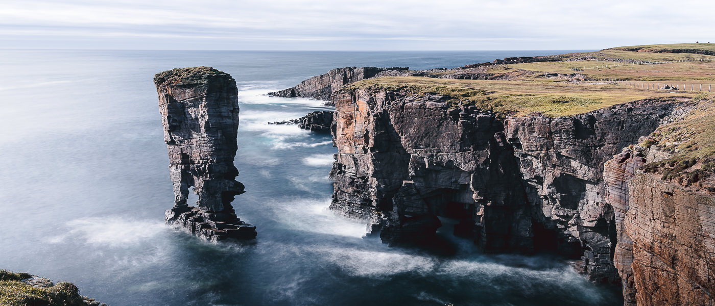 The distinctive sea stack and dramatic cliffs at Yesnaby, on Orkney's main island
