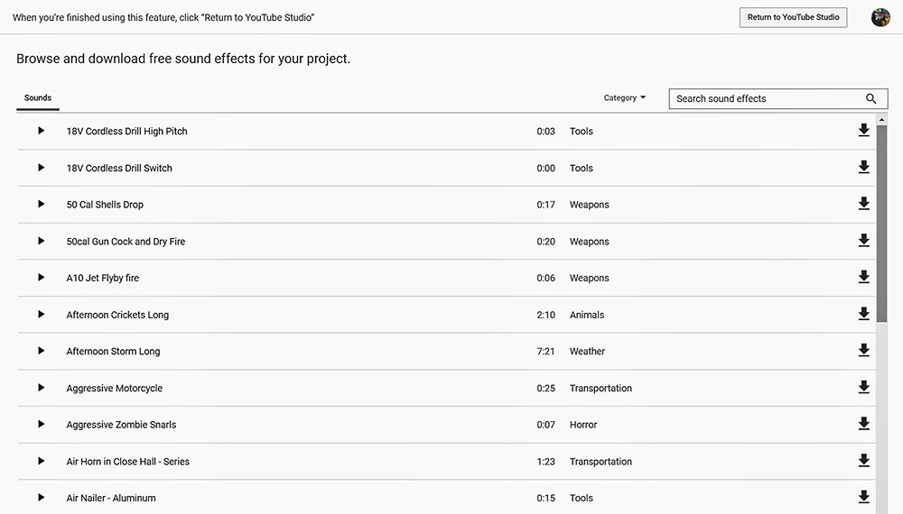 Youtube audio library screenshot