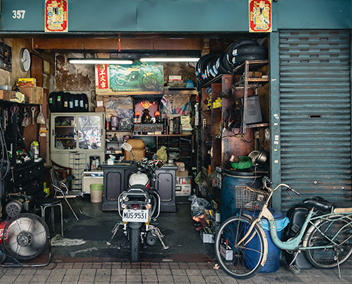 An intricately arranged motorbike repair shop in Dadaocheng, Taipei, Taiwan